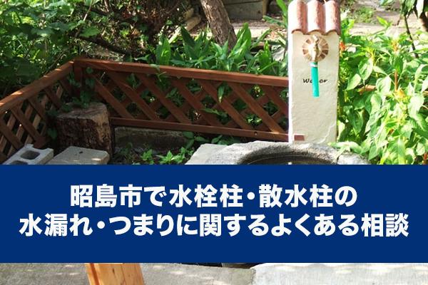 昭島市で水栓柱・散水柱の水漏れ・つまりに関するよくある相談